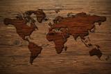 Weltkarte - Holzwand