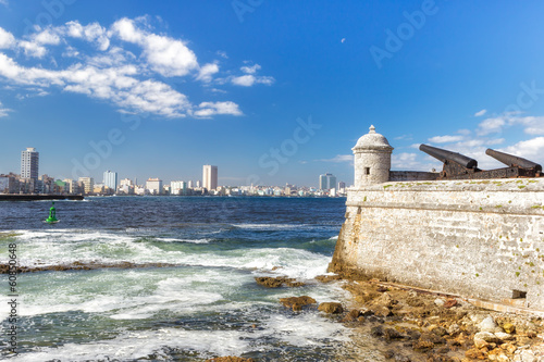 Cannons of the castle of El Morro with the Havana skyline Canvas Print