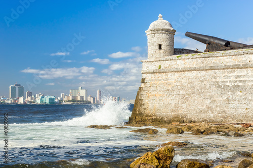 The castle of El Morro with the Havana skyline Wallpaper Mural
