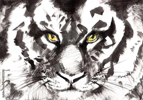 Photo sur Toile Croquis dessinés à la main des animaux tiger