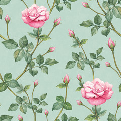 FototapetaWatercolor pattern with rose illustration