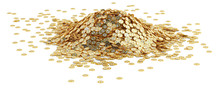 Big Pile Of Golden Bitcoins