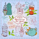 Cute hand drawn teapots, cups and cupcakes.
