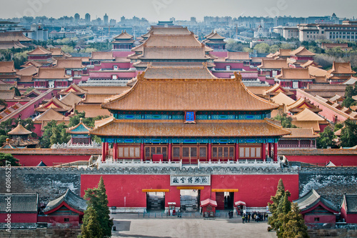 Foto auf Gartenposter Beijing Aerial view on Forbidden City seen from Jingshan Park in Bejing