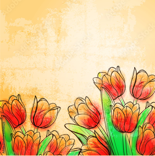 Retro watercolor tulips