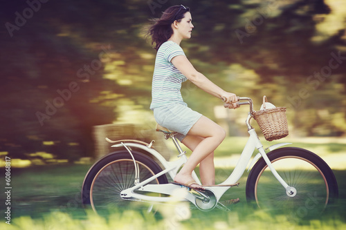 Poster Cycling Bicycle woman