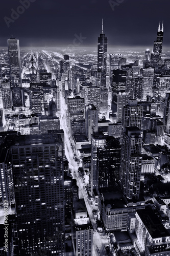 Poster Chicago Aerial view of Chicago downtown