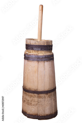Fotomural old butter churn isolated on a white background