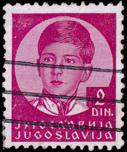 Fotografia  YUGOSLAVIA - CIRCA 1935: A stamp printed in Yugoslavia shows Kin