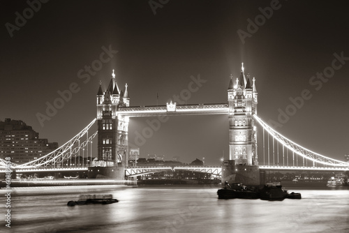 Tower Bridge at night in black and white