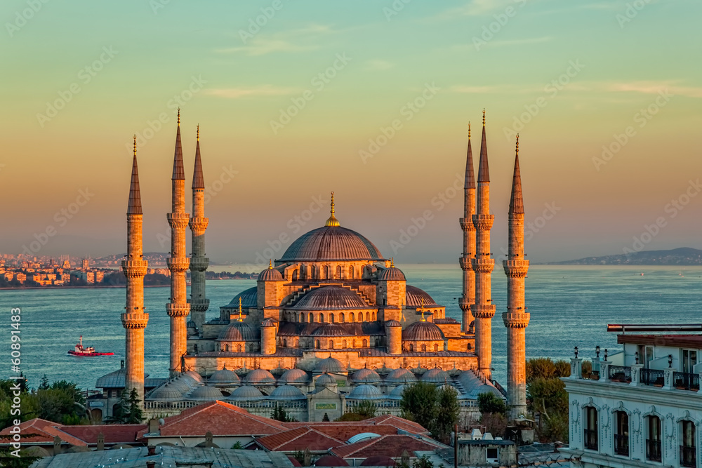 Fotografía Blue mosque in Istanbul in sunset
