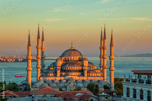 Printed kitchen splashbacks Turkey Blue mosque in Istanbul in sunset