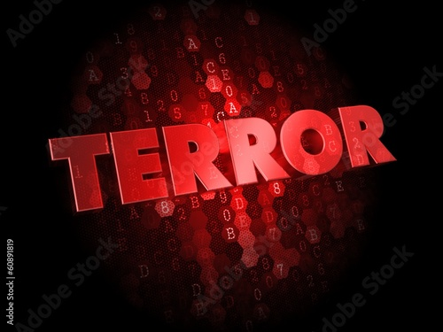 Fotografía  Terror on Red Digital Background.