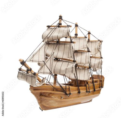 Foto auf AluDibond Schiff Sailing ship model isolated on white background