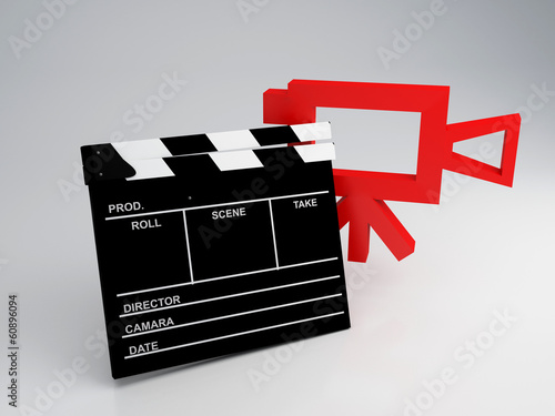 Photo  Clapper board and old camera 3d illustration