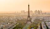 Fototapeta Paryż - Eiffel tower at sunset, Paris, France. Skyline of Paris city in summer.