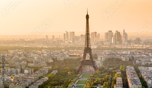 The Eiffel tower at sunset in Paris