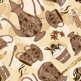 Seamless pattern of coffee service