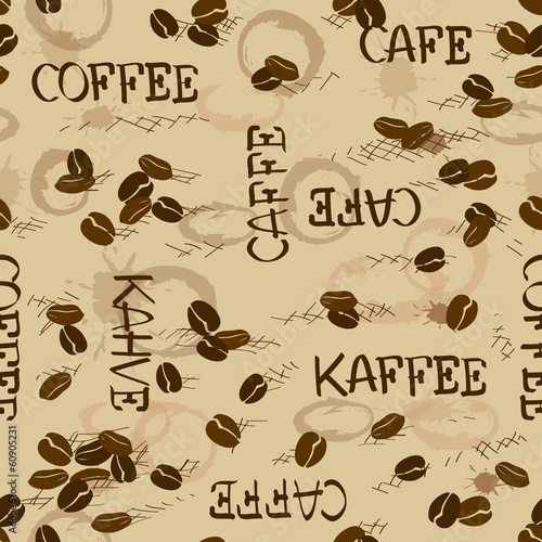 Seamless pattern of coffee beans