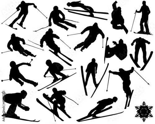 Black silhouettes of skiing , vector illustration Wall mural