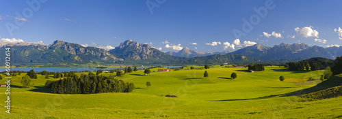 Poster Panoramafoto s panorama landscape in Bavaria with alps mountains