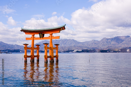 a big Torii gate at Miyajima, Japan