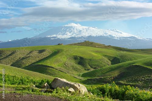Fényképezés  Farmland And Volcano Etna Snow Capped