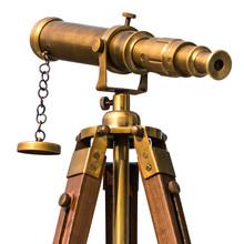 Vintage Brass Telescope On Whi...