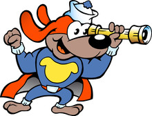 Vector Illustration Of An Happy Super Hero Sailor Watch Dog