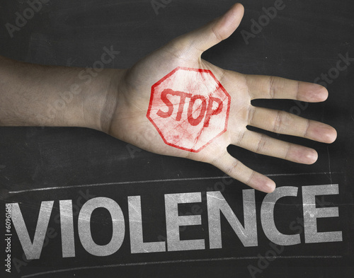 Photo  Educational composition with a hand painted Stop Violence