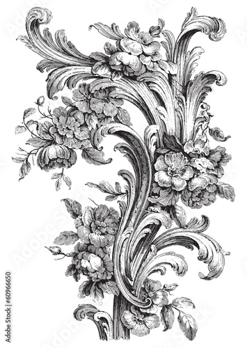 Fotografie, Obraz  Antique floral scroll