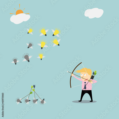 Poster Ciel Businessman with a bow breaking no creativity