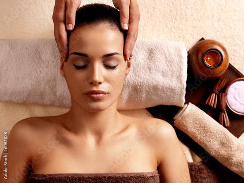 Woman having massage in the spa salon Canvas Print