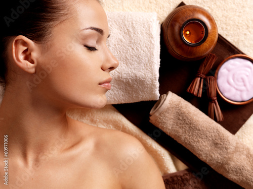 Calm woman relaxing in spa ...