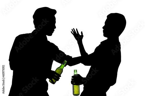 Fotografie, Obraz  Drunk male having a fight isolated over white