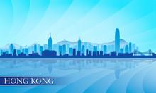 Hong Kong City Skyline Silhouette Background
