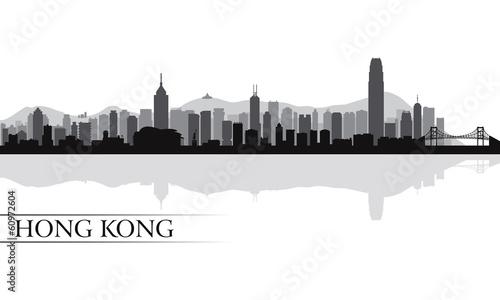 Photo  Hong Kong city skyline silhouette background