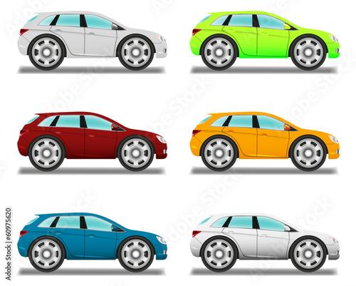Staande foto Cartoon cars Crossover. Cartoon car with big wheels, six colors.
