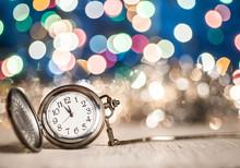 New Year Clock Glowing Backgro...