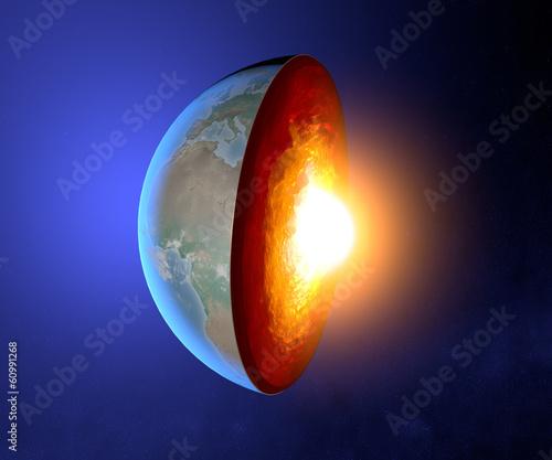 Photo  Nucleo terrestre, terra, mondo, spaccato, geofisica