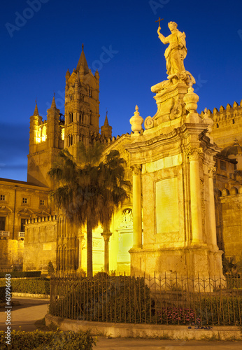 Garden Poster Palermo Palermo - Santa Rosalia memorial and cathedral in dusk