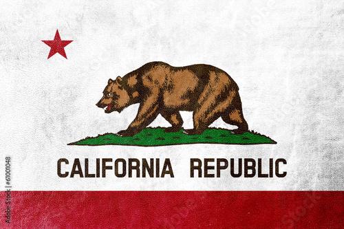 Plakat  Flaga stanu Kalifornia malowane na tekstury skóry