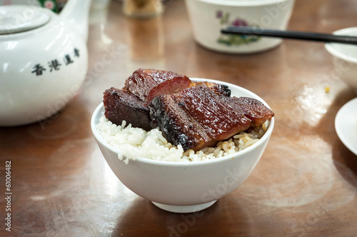 Cha siu rice served at a Hong Kong dim sum restaurant Canvas Print