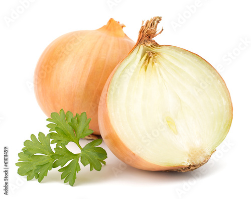 Foto Fresh bulbs of onion on a white background