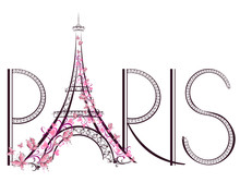 Tower Eiffel With Paris Letter...