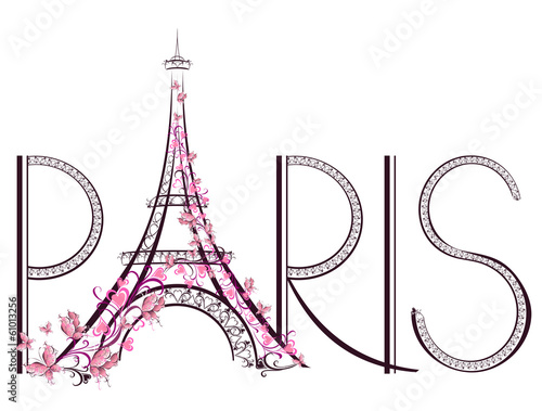 Tower Eiffel with Paris lettering фототапет