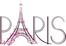 Tower Eiffel With Paris Letter...