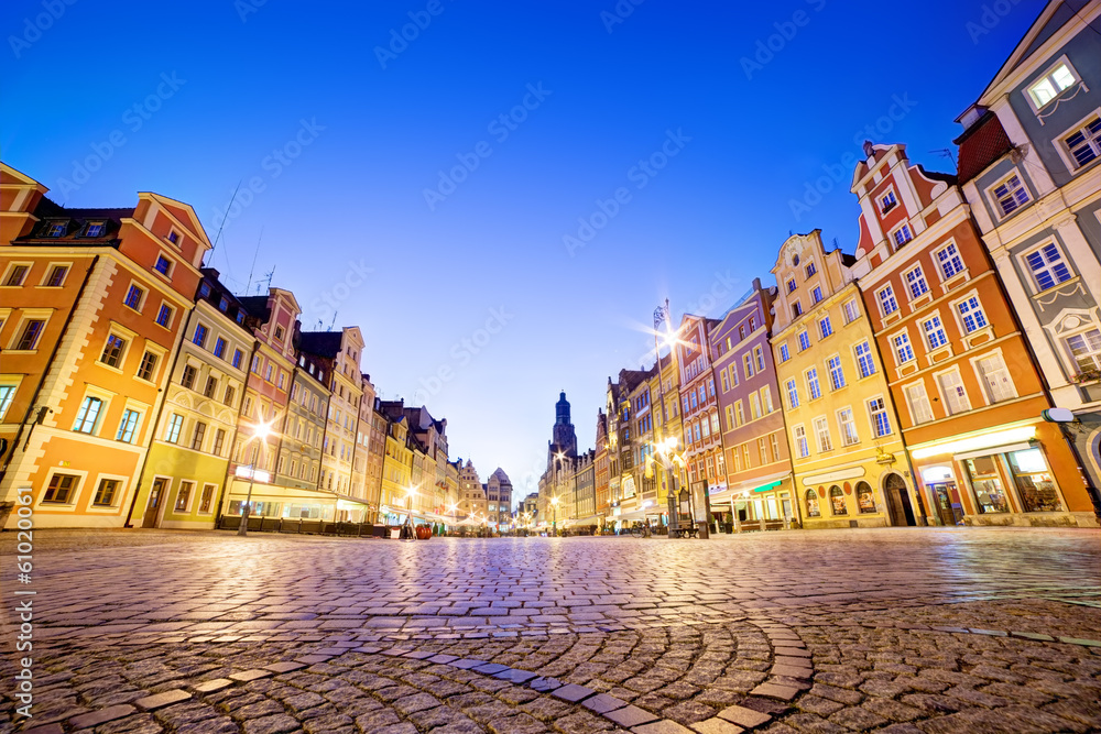 Fototapety, obrazy: Wrocław, Polska na Śląsku. Rynek w nocy