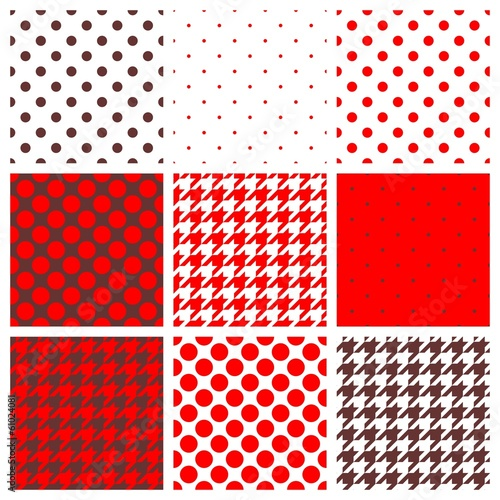 Photo  Vector brown, white, red polka dots, houndstooth background set