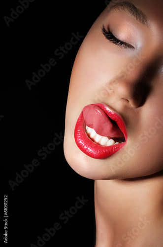 Woman Licking Her Red Sexy Lips Passion